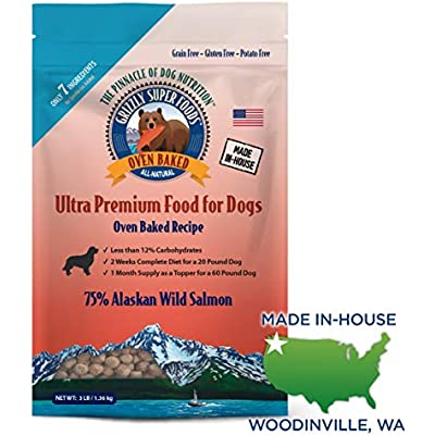 Grizzly Super Foods All-Natural, 7 Ingredient Oven Baked Dog Food   75 Percent Wild Salmon   Grain Free, Nutritionally Dense   Great Food Topper or Full Meal, Made in USA