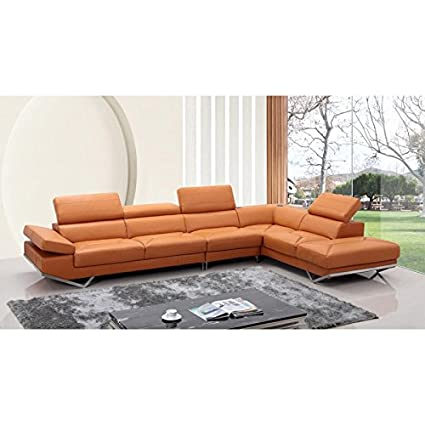 Amazon.com: VIG- Quebec Divani Casa Modern Orange Leather ...