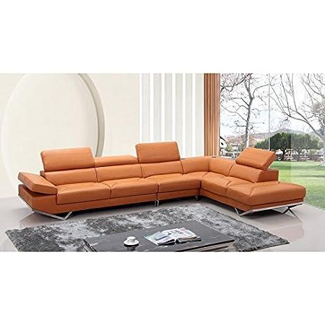 Amazon.Com: Vig- Quebec Divani Casa Modern Orange Leather