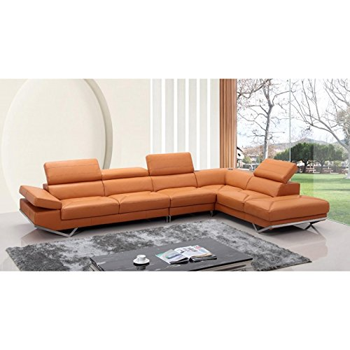 VIG  Quebec Divani Casa Modern Orange Leather Sectional Sofa