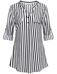 Womens 3/4 Roll Sleeve Shirt V Neck Button Down Blouse Loose Tunic Tops