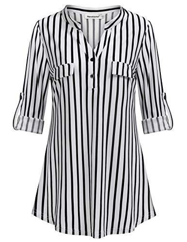 - Nandashe Stripe Shirts for Women, Teenage Girl Cute Plain Notch-v Collared 3/4 Cuff Sleeves Prime Relaxed Fitted Western Flattering Drape Tunic Blouse with Flaps Daily Life Wear US Size 8 Black White