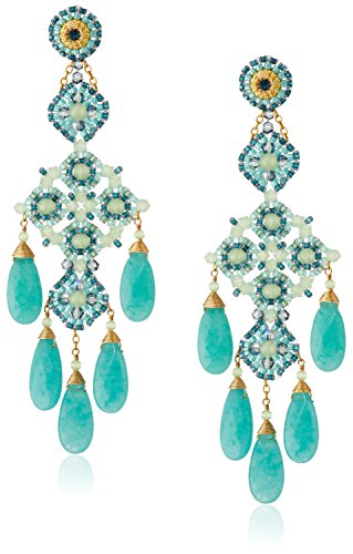 Miguel Ases Prehnite and Green Quartz Chandelier Drop Earrings