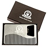 Mr Rugged Compact Stainless Steel Beard Comb - Credit-Card Sized Metal Comb Fits in Your Wallet for Use on the Go - Bottle Opener Built-in