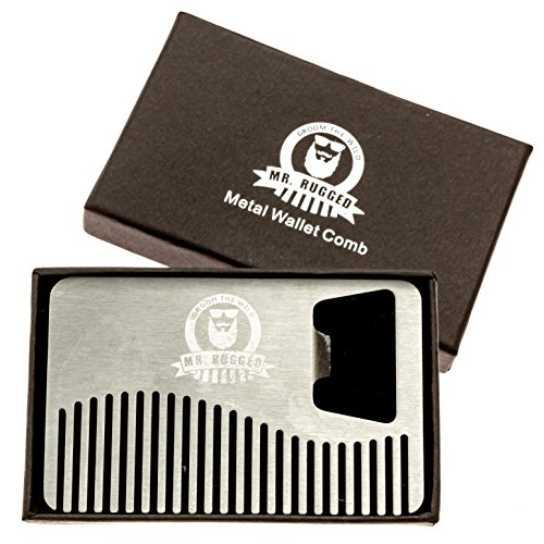 mr rugged compact stainless steel beard comb credit card sized metal comb fits in your wallet. Black Bedroom Furniture Sets. Home Design Ideas
