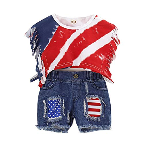 (NZRVAWS Baby Girl Clothes 4th of July Outfits for Girls Infant Tassel Tank Tops+ Shorts 2PCS Ripped Jeans Denim Pants Sets 3-4T)