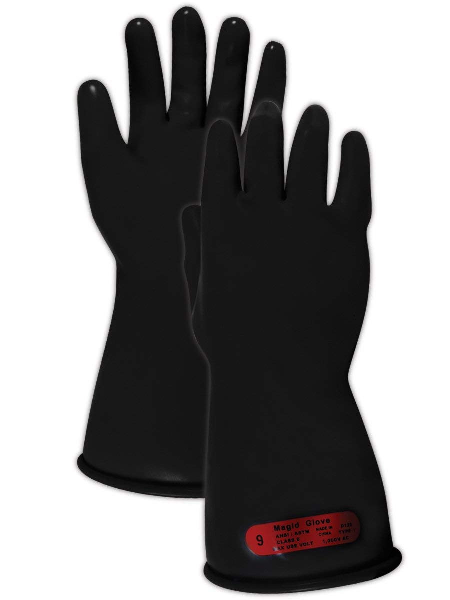 Magid Safety M011B10 Electrical Gloves | ASTM D120-09 Compliant Class 0 Rubber Electrical Insulating Gloves with Straight Cuff, Work, 11'' Length, Size 10, Black (1 Pair)