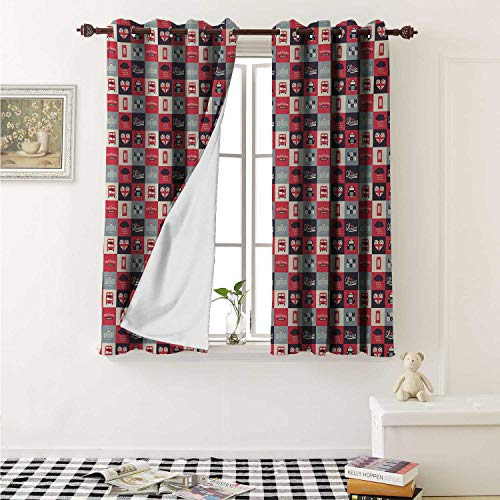 shenglv London Window Curtain Fabric Retro Traditional London Icons in Squares United Kingdom Europe Travel Vacation Curtains and Drapes for Living Room W55 x L63 Inch Multicolor