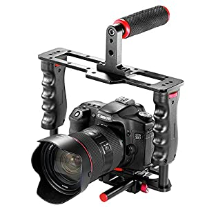 Neewer Film Movie Making Camera Video Cage Kit Includes: (1)Video Cage(1)Top Handle Grip(1)Shoe Mount(2)15mm Rod for Canon Nikon Sony and Other DSLR Cameras,Mount Follow Focus,Matte Box (Red+Black)