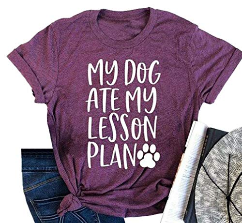 (Dog Mom Letter Print T-Shirt Women My Dog Ate My Lesson Plan Short Sleeve Tops Funny Teacher Shirts Size M)