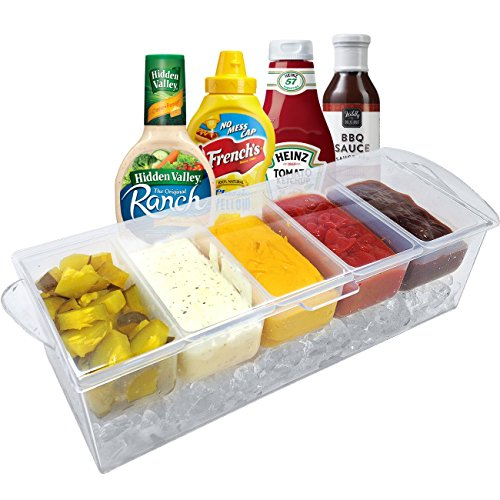 Sorbus Condiment Tray With 5 Removable Compartments And Ice Chamber