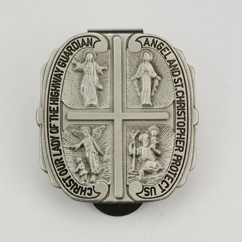 4-way Medal Cross Pewter Auto Angel Visor Clip Made in the USA 4 Way Visor Clip