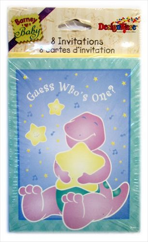 Barney Invitations (Barney 1st Birthday Invitations w/ Envelopes (8ct))