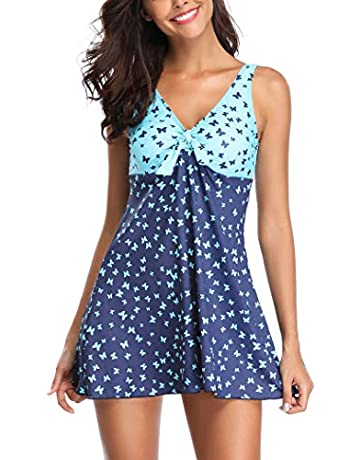 f94ea269b24ace AOQUSSQOA Women Elegant Tankini Plus Size Two Pieces Swimsuit Classic Black  Wavy Stripe Swim Dress with