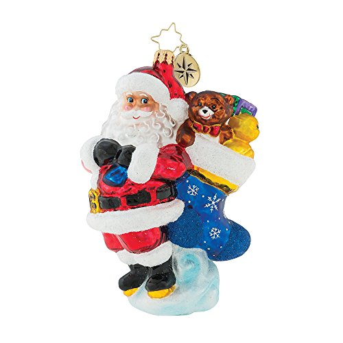Christopher Radko Heaping Holiday Helping Santa With Stocking Themed Glass Ornament