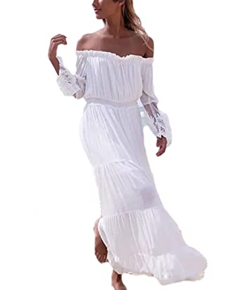 Veilace Women S Boho Beach Wedding Dress Bohemian Off The Shoulder
