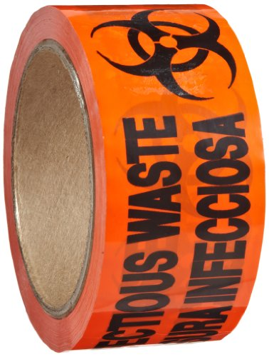 Roll Products 142-0008 PVC Film Biohazard Warning Tape with Black Imprint, Legend