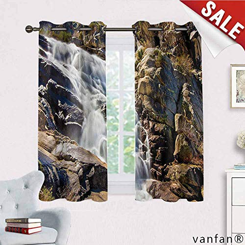 Big datastore National Parks Home Decor Curtains,Stream Bedrock in Sunny Day Wild Lands Hike Mother Earth Motion Thermal Insulated Tie Up,Grey White W72 x L45