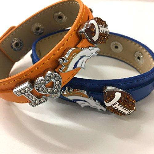 Leather Denver Broncos Bracelets - Two x I love Denver Broncos rhinestone NFL football bracelet/ Broncos fans