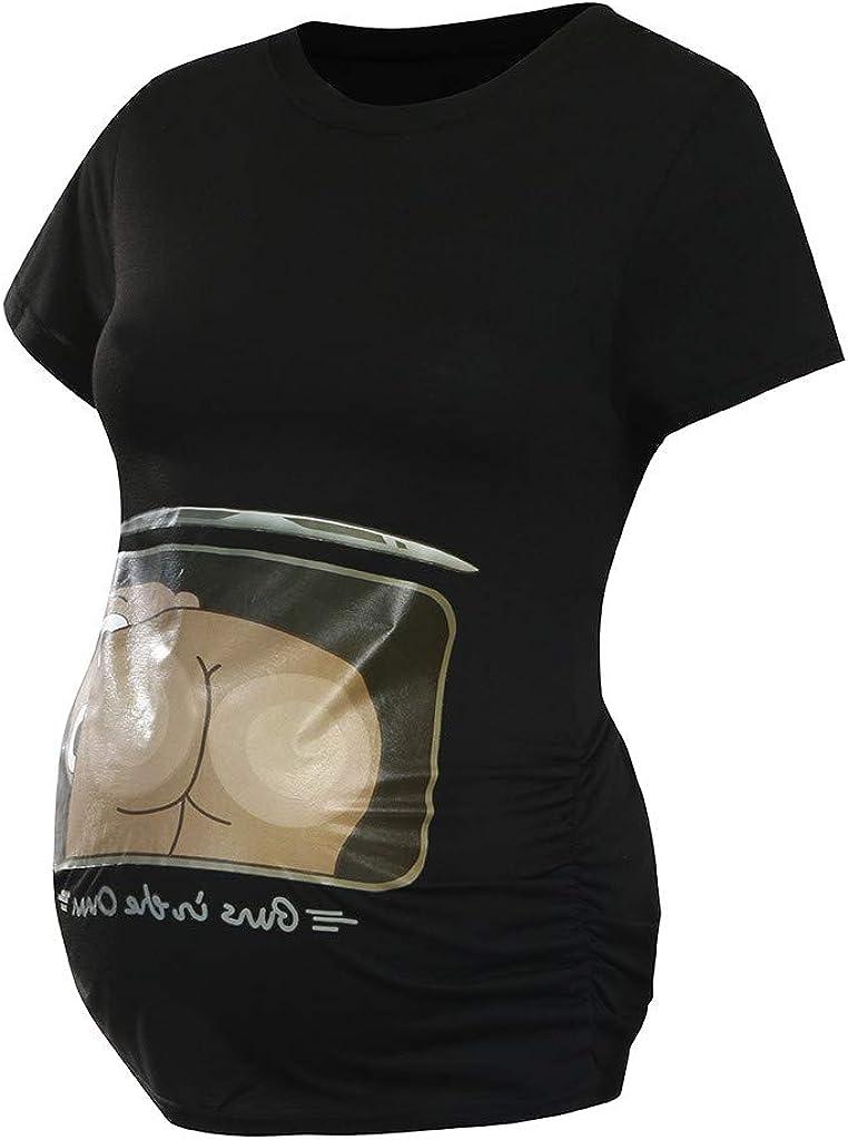 Sulifor Casual Mujeres de Maternidad de Manga Corta de impresi/ón de Dibujos Animados Tops Camiseta Ropa de Embarazo de casa