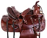 """AceRugs 15"""" 16"""" 17"""" 18"""" Brown Tooled Western Pleasure Trail Comfy Leather Horse Saddle TACK Bridle Beast Collar"""