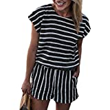 Ru Sweet Women's Summer Striped Jumpsuit Casual Loose Short Sleeve Jumpsuit Rompers Without Pockets