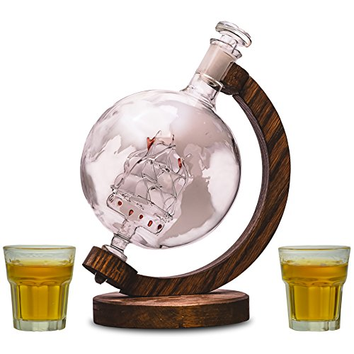 Etched Globe Liquor Decanter - Scotch Whiskey Decanter - 1000ml Glass Decanter for Alcohol - Vodka, Bourbon, Rum, Wine, Tequila or Mouthwash - Magellan's Victoria (Shot Glass Bundle)