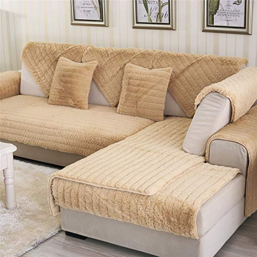 OstepDecor Velvet Plush Furniture Protector and Couch Slipcover for Sofa, Loveseat, Recliner, Chair, Machine Washable, Slip Cover Throw for Pets, Dogs, Kids, Brown 36
