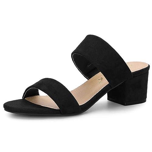 0e53e2cc1 Allegra K Women s Block Heel Dual Straps Black Slide Sandals - 5.5 ...