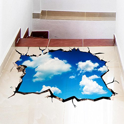Woaills Wall Mural, Floor Wall Stickers 3D Removable Ceiling Wallpaper Decals Decoration for Room Stair Nursery (Blue B)]()