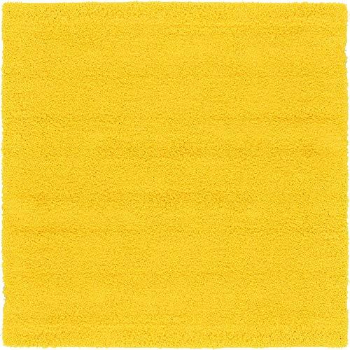 Unique Loom Solo Solid Shag Collection Modern Plush Tuscan Sun Yellow Square Rug (8' 2 x 8' 2)