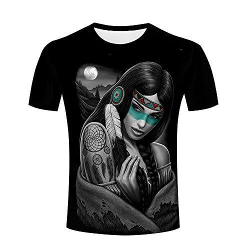 ZeShan Men Summer T-Shirts Native American Indian Girl 3d Print Moon Star Circles Casual Polyester Tops XXL