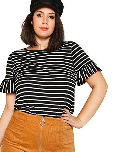 Romwe Womens Plus Size Ruffle Trim Short Sleeve Black White Striped Tee Top Blouse T-Shirts