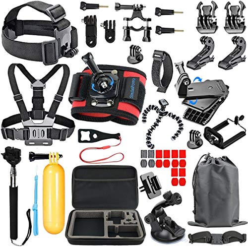 SmilePowo 48 in 1 Accessory Kit for GoPro Hero 7 6 5 4 3 Black, Hero 2018, Hero Session Fusion, SJCAN XIAOMI AKASO APEMAN DBPOWER Lightdow Campark Action Camera with Chest Strap, Float Handle