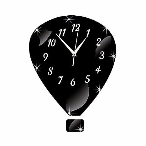 Reloj réplica reloj de pared Reloj silencioso Diy3D Stereo Reloj de pared, negro