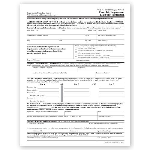 Amazon.com : I 10 Employment Eligibility Verification ...