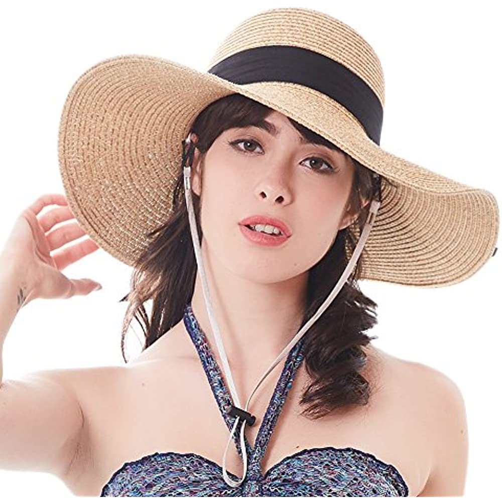 c5e46eb4f Details about Women Sun Straw Hat Wide Brim UPF 50+ Beach Hats Summer  Bucket Foldable Womens