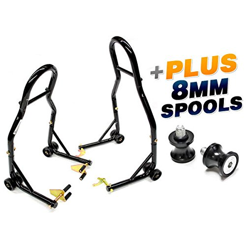 (Venom Sport Bike Venom Motorcycle Front & Rear Combo Wheel Lift Stands Fork & Swingarm Stands Paddock Stands + Low Profile 8mm Black Swingarm Spools (Fits Most Honda/Suzuki Bikes))