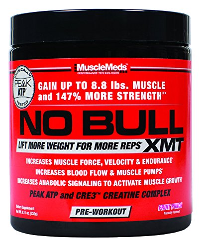MuscleMeds No Bull XMT Pre-Workout Powder, Fruit Punch, 8.11 Ounce