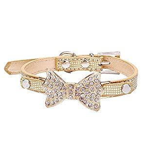 Pet Collars With Rhinestones Puppy Cat Collar Bling Bowknot For Dogs Female Girl (XS/1.5cm30cm, Gold)