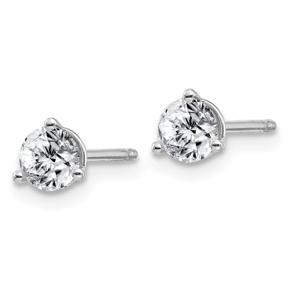 FB Jewels Solid 14kw 1//2ct 4.0mm Round Moissanite 3-Prong Martini Post Earring