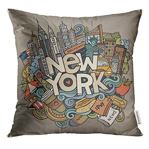 Golee Throw Pillow Cover Cartoon Cute Doodles New York Inscription Colorful with American Items Line Detailed with Lots of Objects Decorative Pillow Case Home Decor Square 18x18 Inches Pillowcase (York New Pillows Throw)