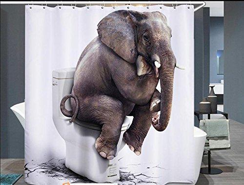 Beddingleer Cortina de Ducha Elefante Impresión Impermeable y ...