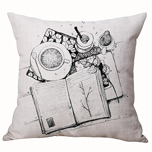 ASTIHN Book Coffee Black and White Hand Painted Sketch Cotton Linen Throw Pillow Cover Cushion Case Home Chair Office Decorative Square 18 X 18 inches -