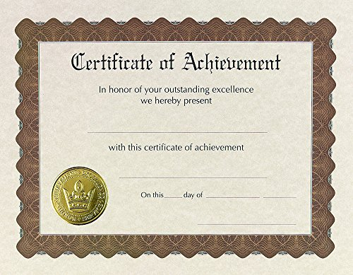 Great Papers! Certificate of Achievement, Pre-Printed, Gold Foil, Embossed, 8.5