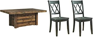 Signature Design by Ashley Dining Table, Sommerford, Summerford & Design - Mestler Dining Room Side Chair - Wood Seat - Set of 2 - Blue/Green