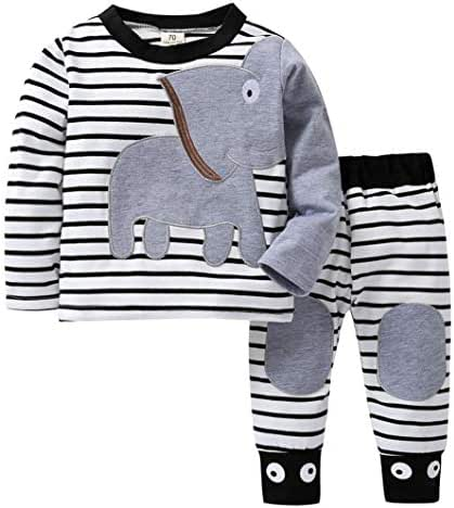 Infant Baby Toddler Boy Girl Fall Winter Clothes Outfit 0-2 Years Old,2Pcs Elephant Striped T-Shirt Top Pants Set