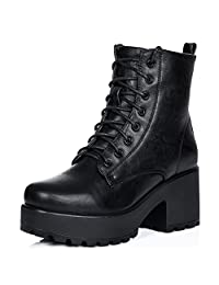 SPYLOVEBUY SHOTGUN Women's Lace Up Cleated Sole Platform Block Heel Ankle Boots Pumps