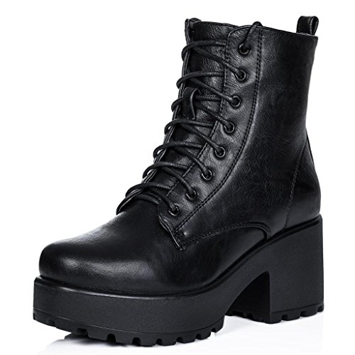 - Block Heel Cleated Sole Lace Up Platform Ankle Boots Black Synthetic Leather US 10