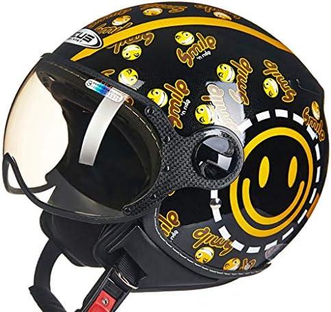 ZJJ ヘルメット- セミカバーヘルメット、ユニセックスヘルメット、雨および紫外線保護用ヘルメット、ショートレンズ (色 : ブラック, サイズ さいず : L l)